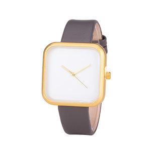 Leren Dames Horloge - Vierkant - Grijs
