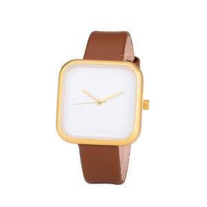 Leren Dames Horloge - Vierkant - Bruin