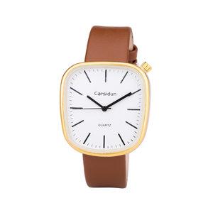 Leren Dames Horloge - Vierkant - Bruin & Goud - Carsidun