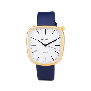 Leren Dames Horloge - Vierkant - Blauw & Goud - Carsidun