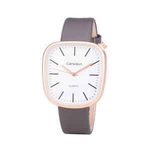 Leren Dames Horloge - Vierkant - Grijs & Rosé - Carsidun