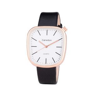 Leren Dames Horloge - Vierkant - Zwart & Rosé - Carsidun