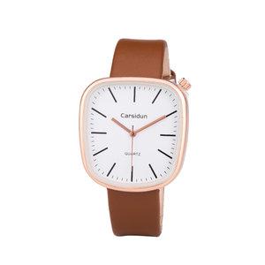 Leren Dames Horloge - Vierkant - Bruin & Rosé - Carsidun