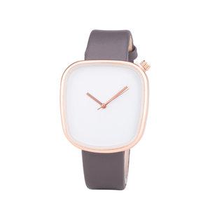 Leren Dames Horloge - Vierkant - Grijs & Rosé