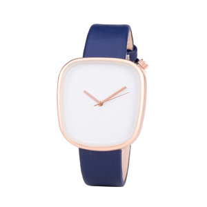 Leren Dames Horloge - Vierkant - Blauw & Rosé