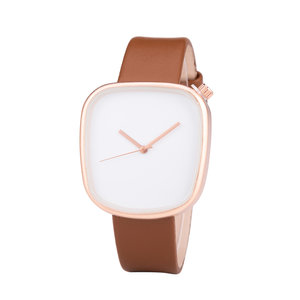 Leren Dames Horloge - Vierkant - Blruin & Rosé
