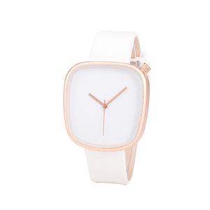 Leren Dames Horloge - Vierkant - Wit & Rosé
