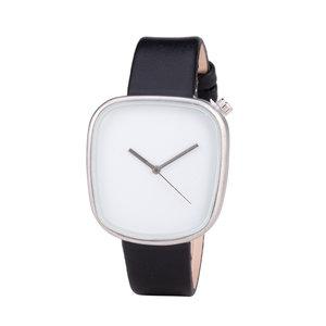 Leren Dames Horloge - Vierkant - Zwart & Zilver