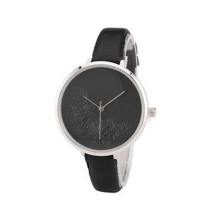 Leren Dames Horloge - Dunne 1 cm Band - Zwart & Zilver - Bloemen