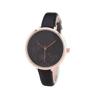 Leren Dames Horloge - Dunne 1 cm Band - Zwart & Rosé - Bloemen