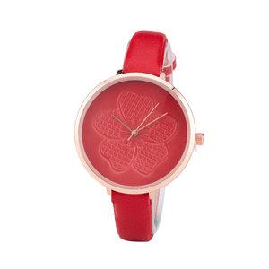 Leren Dames Horloge - Dunne 1 cm Band - Rood & Rosé - Bloemen